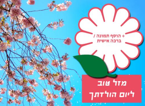 מגנטה - ברכות ליום הולדת, מסגרות לברכות עם תמונות ליום הולדת שמח - עץ עם פרחים