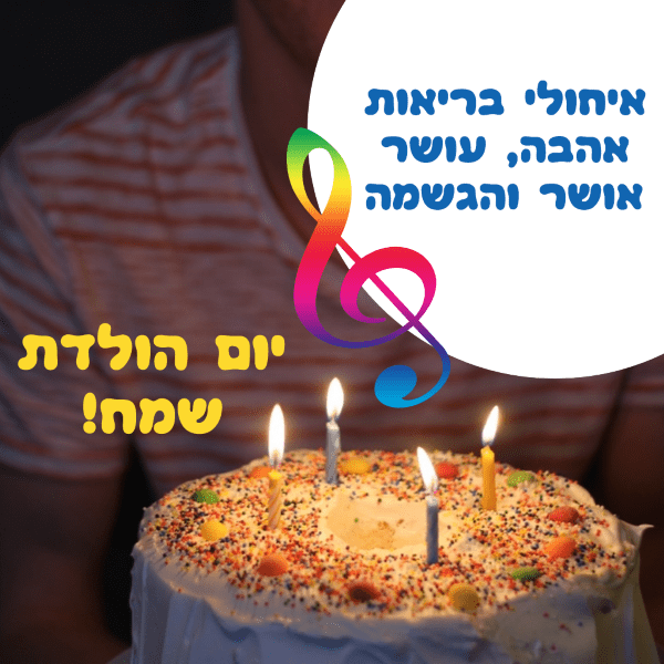 מגנטה - ברכה ליום הולדת, מסגרת לברכה מזל טוב יום הולדת שמח - נרות עוגה