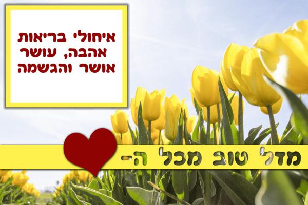 מגנטה - ברכה ליום הולדת, מסגרת לברכה מזל טוב יום הולדת שמח - פרחים צהובים