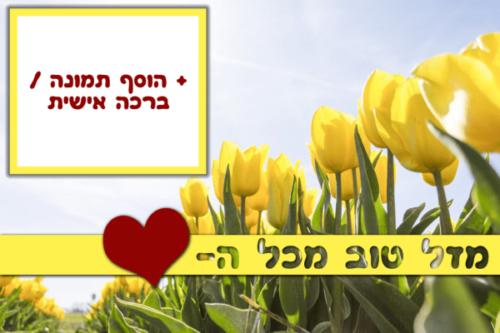 מגנטה - ברכות ליום הולדת, מסגרות לברכות עם תמונות ליום הולדת שמח - פרחים צהובים