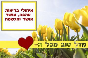 תמונה ליום הולדת עם מסגרת לברכה – דגם פרחים צהובים