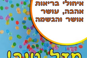 תמונה ליום הולדת עם מסגרת לברכה – בלונים שמים